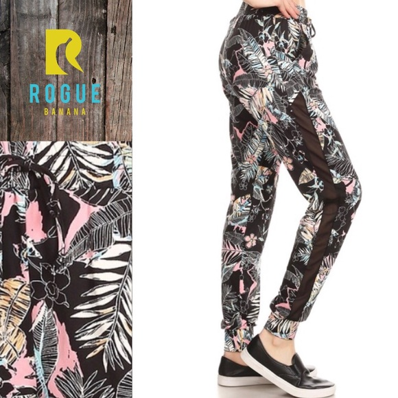 ceefbc1357a2f HP!🆕Tropical Print Jogger Pants w  Mesh Panel!